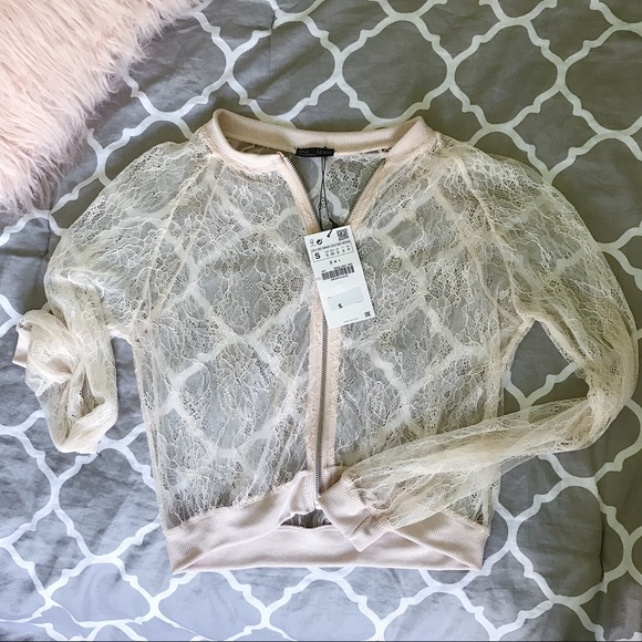 50b6a144 Zara Jackets & Coats   Bnwt Nude Lace Bomber Jacket   Poshmark